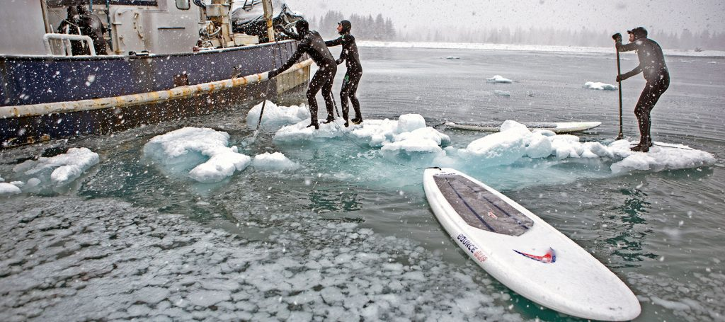 Paddleboarding in cold weather Alaska