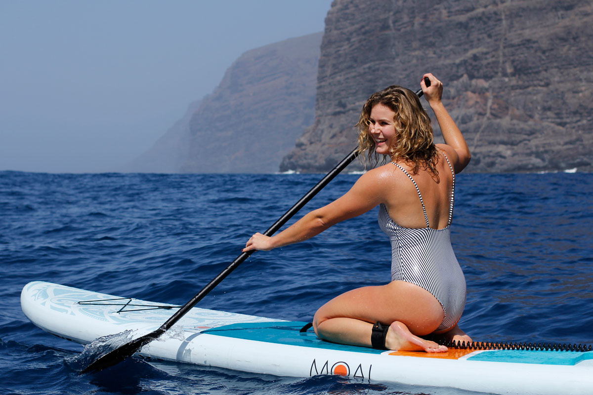 MOAI 11' Stand Up Paddle Board Girl Sitting Down Action