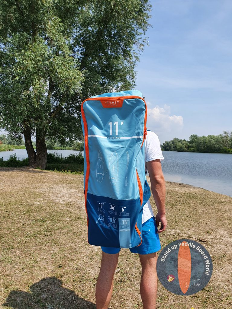 De pie con Mochila para tabla de paddle de Decathlon-Itiwit