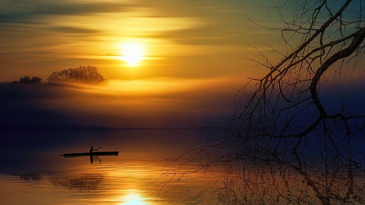 kajak-zonsondergang